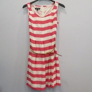 Nine West Pink/White Striped Dress w/Belt Size 8